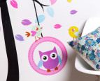 Owls Swinging in Blooming Tree Wall Decal/Sticker 2