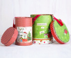 Set of 2 Round Nested Christmas Boxes w/ Ribbon Handles 7