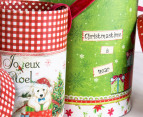 Set of 2 Round Nested Christmas Boxes w/ Ribbon Handles 8
