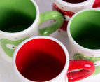 6 x 10cm Christmas Owl Mugs - Green/Red 8