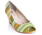 I Love Billy Size EU 40 Zenire Peep Toe Wedge - Green Multi 4