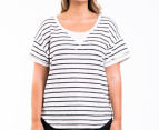 Bonds Women's Plus Size Sweater Tee - Grey Marle/Black 1