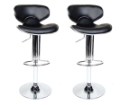 Leather-Look 106cm Curvaceous Bar Stool 2-Pack - Black 1