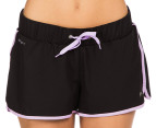 Lonsdale Women's Thornburgh Shorts - Black/Lilac 2
