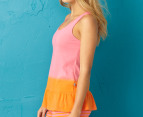Jethro & Jackson Women's Stripe Tank - Bubble Gum/Orange 2