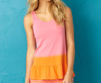 Jethro & Jackson Women's Stripe Tank - Bubble Gum/Orange 1