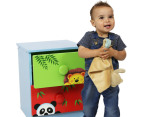 Kids 2-Drawer Safari Bedside Table - Green/Red 3