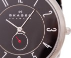 Skagen Black Leather & S/S Watch 2