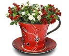Ceramic Tea Cup Shaped Plant Holder - Red 1