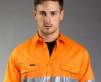 Hard Yakka Hi-Vis Vented LS Shirt - Orange 2