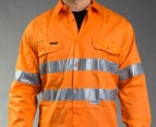 Hard Yakka Hi-Vis Vented LS Shirt - Orange 3